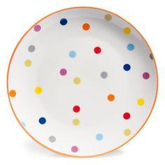 Assiette plate à pois en porcelaine D 26 cm CONFETTIS