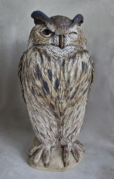 European Eagle Owl - Ceramic stoneware with oxide glaze