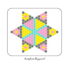 Beady Beads - Star 1f. Perler / Hama / Fusion / Melty / Pyssla Beads. Free Pattern Card! Visit my blog for more free patterns.