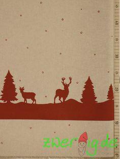 Stoff Tiermotive - Dekostoff mit Winter-Bordüre - Weihnachtsstoff - ein Designerstück von zwergigDE bei DaWanda