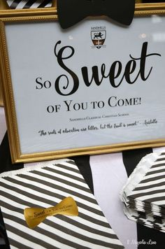 Formal event decor: black and white stripes with gold