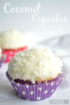 Coconut Cupcakes.  A moist white coconut cake with a creamy coconut filling and coconut frosting on top!   cupcakesandkalechips.com
