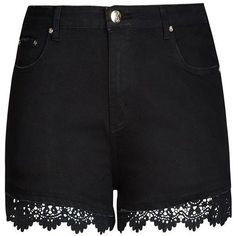 City Chic Crochet Trim Short Short ($41) ❤ liked on Polyvore featuring shorts, bottoms, short, pants, hot short shorts, lace hot pants, party shorts, lacy shorts and micro shorts