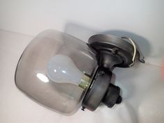 Mid Century Outdoor Industrial lighting smoke glass globe, outdoor sconce fixtures, set of 2 by MyRetroRecollections on Etsy