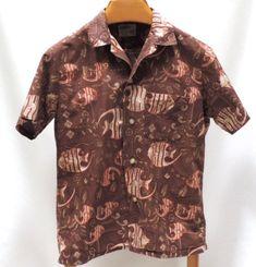 Sears Pilgrim Sportswear Hawaiian Shirt Fish Print Pool Beach