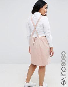 ASOS CURVE Open Back Denim Mini Pinafore Dress in Pink