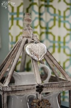 My Christmas Kitchen Decor {Decorating for Christmas}, mercury glass heart ornament