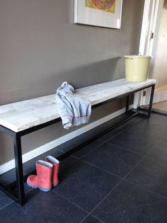 PURE bank steigerhout met stalen frame - PURE Wood Design