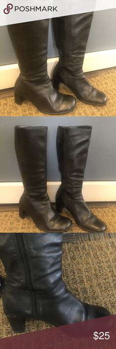 Knee high leather boots Knee high black leather boots- has creases in the fore front of the foot and a few scratched but overall wearable. Heel is about 2 1/2 inches. Parade Shoes Heeled Boots