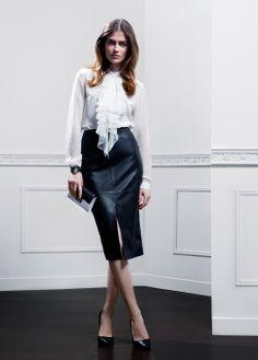 Fall-Winter 2013   Lookbook   #AnneFontaine #MODERNPARISIAN #FW13 Shirt MILANA SKIRT MELYNA Bag VANESSA PEARL