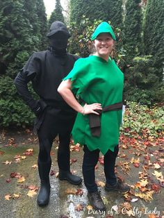 Diary of a Crafty Lady: Peter Pan's Shadow:  He loved wearing that morph suit cap ;)  The tunic, belt, dagger and hat were all made from felt.  I used a tutorial I found at Make It, Love It for the hat and dagger.  The tunic was just two shirt shapes sewn together, front and back.  Be ware though - felt does not stretch!!  So, when making felt costumes, add several inches when compared to a t-shirt to accommodate the fact that there is no stretching.