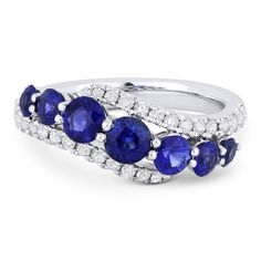 1.84ct Round Brilliant Cut Sapphire & Diamond Pave Right-Hand Ring Swirl Band in 18k White Gold - AlfredAndVincent.com