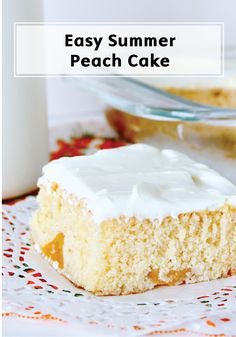 This fresh summer dessert recipe begins with a boxed cake mix—but no one will ever guess it because you mix in fresh peaches and top it with a light, not too sweet, peach frosting for the perfect summer treat!
