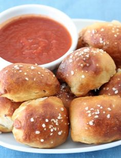 Pizza Pretzel Bites Recipe on twopeasandtheirpod.com Pretzel bites filled with cheese and pepperoni! Great game day snack!