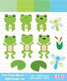 Cute frogs - clip art & digital paper set - Personal and commercial use