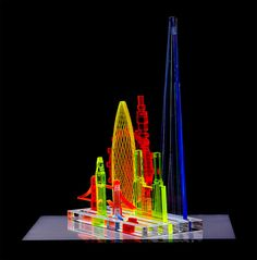 Signed art prints by Yoni Alter — Modular neon sculpture London/NY/Paris Vintage Industrial Lighting, Industrial Light Fixtures, London Eye, 3d Laser Printer, Battersea Power Station, Laser Cutter Projects, London Skyline, Laser Cut Acrylic, Plexus Products