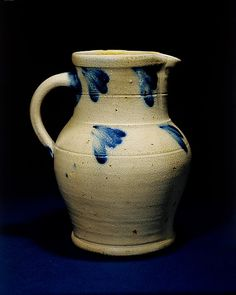 Pitcher Date: Geography: New England, Hartford, Connecticut, United States Culture: American Medium: Stoneware Antique Stoneware, Stoneware Crocks, Glazes For Pottery, Glazed Pottery, Old Crocks, Butter Molds, Churning Butter, Apothecary Jars, New England