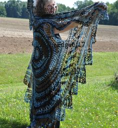 Circle Vest -Bohemian Vest, used Deborah Norville Serenity Garden yarn, color is called Twilight. This yarn is a very fine 2 ply cotton draylon fiber and this is what gives the overall hippie draping and fun look. Pattern avialable on Craftsy, Ravelry or Etsy