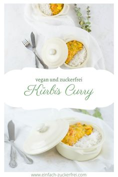 Wie wäre es mit einem gesunden und veganen Kürbisrezept? Ich liebe Kürbis inform von Curry. Ein schnelles veganes Mittagessen Rezept. Camembert Cheese, Dinner, Food, Vegan Lunches, Pumpkin Curry, No Sugar, Healthy Recipes, Food Dinners, Love