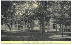 Vintage Peru Nebraska Postcard College Campus 1910s Black and White No. 44829