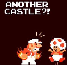 Mario & Toad (from Super Mario Bros. Video Game Logic, Video Games Xbox, Video Games Funny, Super Mario Brothers, Super Mario Bros, Space Invaders, Pac Man, Donkey Kong, Game Boy