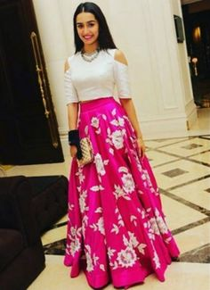 looking for similar white cold shoulder crop top and hot pink printed skirt worn by shraddha kapoor