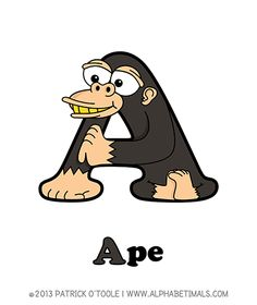 Ape - Alphabetimals make learning the ABC's easier and more fun! http://www.alphabetimals.com
