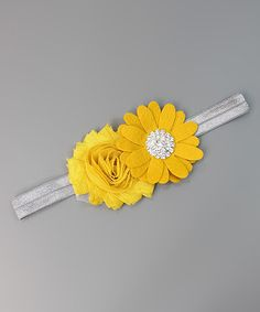 Look at this Mustard & Gray Flower Headband on #zulily today!