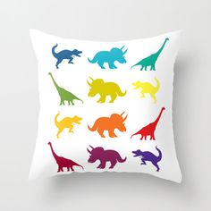 Dinosaure Throw Pillow, arc-en-ciel « Parade de dinosaure » throw pillow, dinosaure du Jurassique et du Crétacé, décoration, coussin, mignon, lit, coloré, les enfants