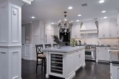 Clean white cabinetry with Sub-Zero wine cooler built into center island - Wine Cooler - Ideas of Wine Cooler Updated Kitchen, New Kitchen, Kitchen Decor, Kitchen Ideas, Kitchen Updates, Kitchen Designs, Kitchen Hutch, Kitchen Living, Living Room