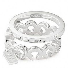 COACH- STERLING PAVE OP ART STACKING RING