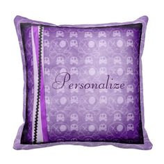 Cute Purple Skulls Personalized Throw Pillow