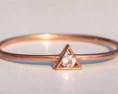 Thin Rose Gold Ring - Triangle Ring - Birthstone Ring -Personalized Jewelry - Diamond Triangle Ring - Solitaire Ring - Geometric Ring