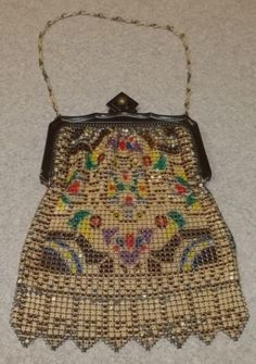 Art Deco enamel mesh bag, Whiting & Davis