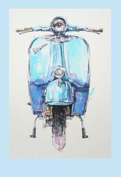 Vespa Source by ruthenzer Lambretta, Piaggio Vespa, Vespa Scooters, Scooter Scooter, Vintage Vespa, Motorcycle Art, Bike Art, Vespa Illustration, Scooter Drawing