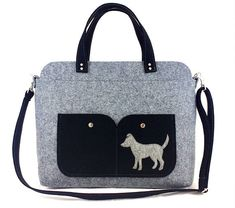 Dog bag Laptop bag Bag for women Shoulder bag Grey bag Felt bag Designer handbag Felt shoulder bag