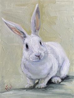 "Daily Paintworks - ""White Rabbit"" - Original Fine Art for Sale - © H.F. Wallen"