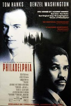 A great poster! Tom Hanks and Denzel Washington give powerful performances in Jonathan Demme's 1993 film Philadelphia - one of the first movies to tackle AIDS and homosexuality. Ships fast. 27x40 inch