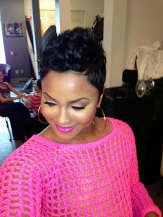 Love the whole look, pixie cut and cut crease eye makeup.
