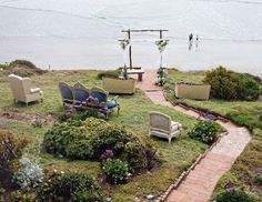 unique ceremony seating for a beachside wedding