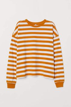 2020 Women Trends in: Striped Jersey Top - Mustard yellow/white striped - Ladies Striped Long Sleeve Shirt, Long Sleeve Tops, Long Sleeve Shirts, Casual Outfits, Cute Outfits, Fashion Outfits, 90s Shirts, Striped Jersey, Striped Shirts