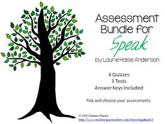 In this bundle you will find 4 quizzes and 3 tests for the novel Speak by Laurie Halse Anderson. There are answer keys included for all of the quizzes and tests in this bundle.