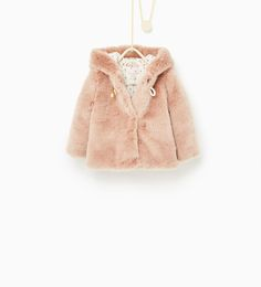 Image 1 of Three quarter length faux fur coat from Zara