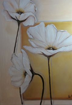 """""""White Poppies"""" original oil on canvass by Lucille Otto bueno Oil Painting Flowers, Abstract Flowers, Easy Canvas Painting, Canvas Art, Arte Floral, Flower Pictures, Pictures To Paint, Acrylic Art, Flower Art"""