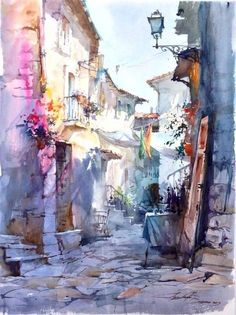 Watercolor fine abstraction style