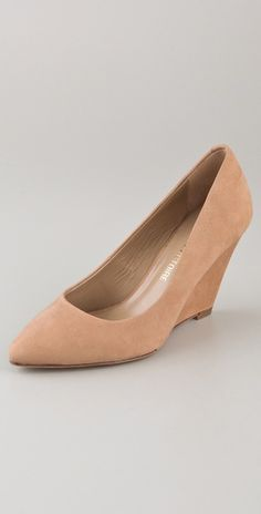 "Pour La Victoire Mai Wedge Pumps in ""sand."" A slip-and-fall accident waiting to happen, but SO fabulous."