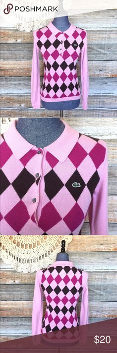 "Lacoste Pink Argyle Cashmere Blend Sweater Bust: 28"" Length: 22"" Small spot on sleeve as seen above. All my items have been freshly washed and steamed. If you have any questions, feel free to message me. Thanks for stopping by and have a lovely day! Lacoste Sweaters"