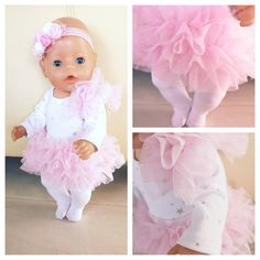 White and pink clothing set for baby born doll or other similar doll. Pink tutu skirt, body, tights and headband. Doll is not included. Tutu Outfits, Pink Outfits, Baby Born Clothes, Pink Tutu Skirt, Pink Doll, Baby Tutu, Baby Alive, Bitty Baby, Saved Items