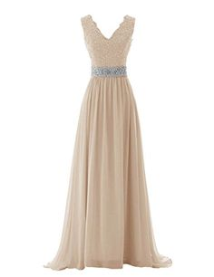 Diyouth V Neck Lace Flower Beaded Belt Prom Dress Backless Champagne Size 2 Diyouth http://www.amazon.com/dp/B00QKDAT7A/ref=cm_sw_r_pi_dp_WQwWvb18RQAGD