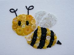 BZZZZ Bee Button Art Buttons and Beads 5x7 by BarefootAnCrazy